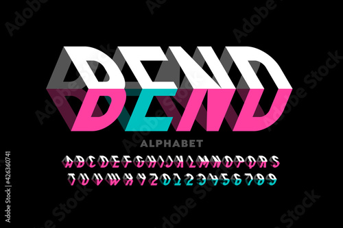Carta da parati Bending 3D style font design, typography design, alphabet letters and numbers