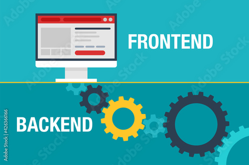 Fotografie, Obraz Frontend and Backend - user interface with gears