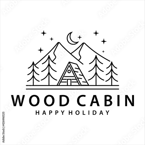 Fotografia cabin or cottage line art logo vector illustration template icon design