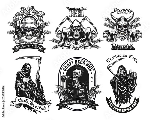 Canvas-taulu Monochrome labels with skeleton and beer vector illustration set