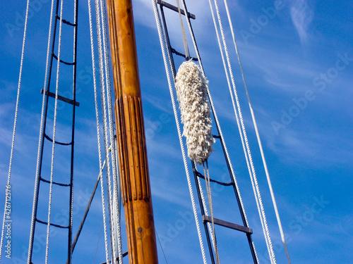 Obraz na płótnie Masts and rope of sailing ship.