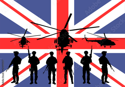 Army soldiers unit with rifles on duty over Great Britain flag vector illustration Fotobehang