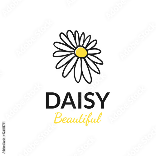 Fototapeta vector design hand drawn daisy logo. logo template