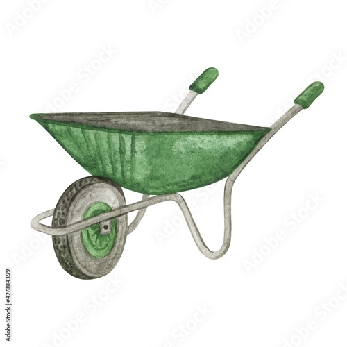 Canvas Print Garden wheelbarrow watercolor, farm tools hand drawn watercolor illustration, Ga