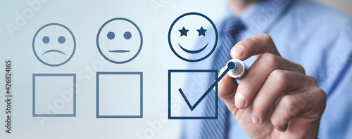 Canvas Print Customer experience. Satisfaction survey and customer service