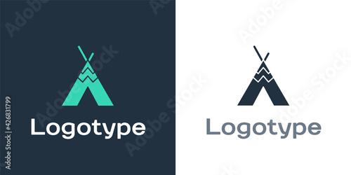 Logotype Traditional indian teepee or wigwam icon isolated on white background Fototapeta