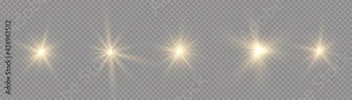 Fotografie, Obraz Star burst with light, yellow sun rays.