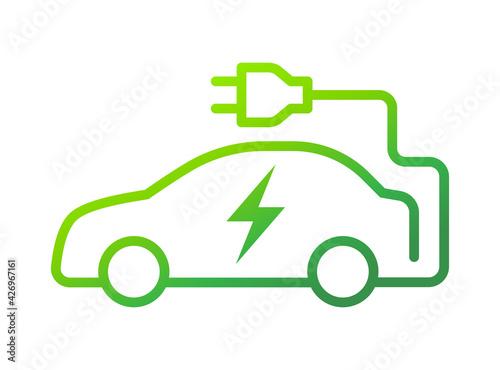 Fototapeta Electric car with plug icon symbol, EV car, Green hybrid vehicles charging point