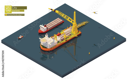 Vector isometric pipe laying vessel Fototapete