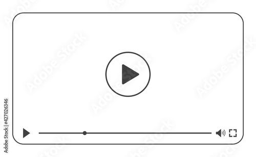 Obraz na płótnie Multimedia video player with play button, play video online window with navigati