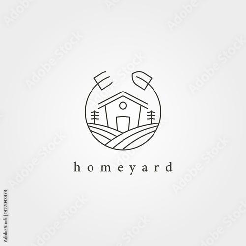 Fotografia home yard landscape garden logo vector design, farmhouse minimal logo design