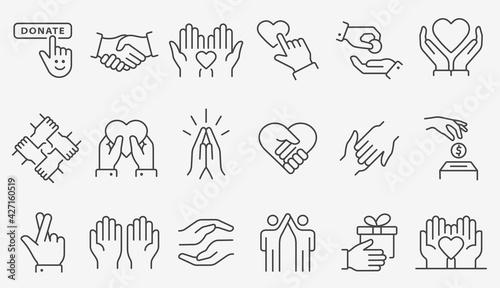 Tableau sur Toile Charity line icon set