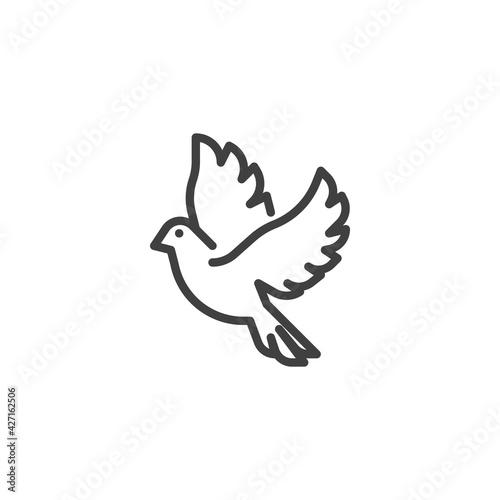Billede på lærred Flying dove line icon