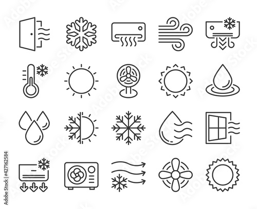 Fotografie, Obraz Set of Air Conditioning Line Icons