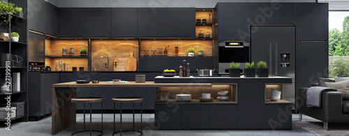 Stampa su Tela Beautiful open plan matte black kitchen and  kitchen island with dining area
