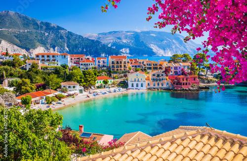 Fototapeta premium Kefalonia, Greece. Colorful village of Assos in Kefalonia.