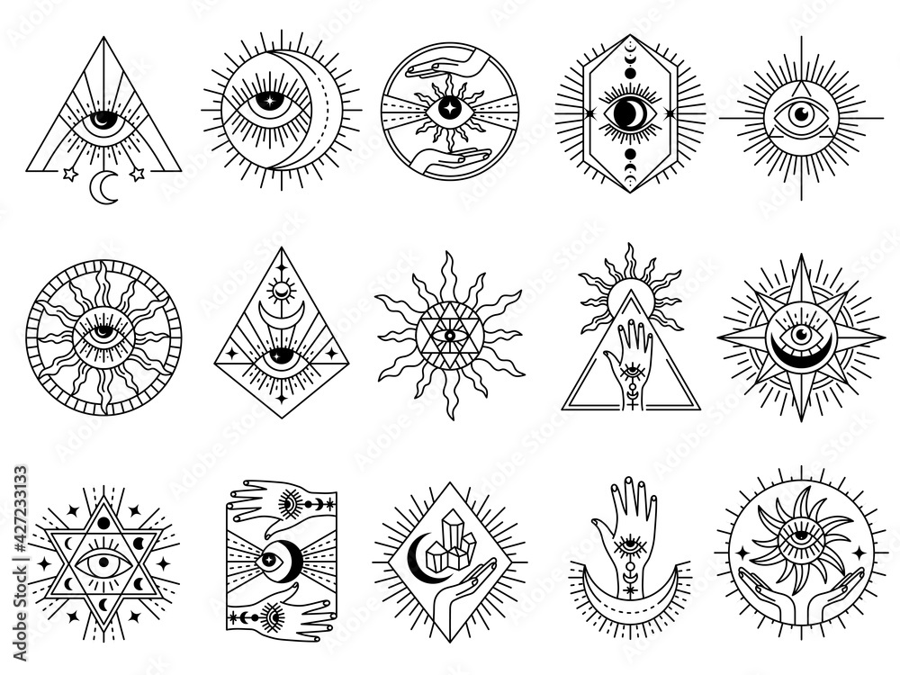 Mystical symbols. Occult emblems meditation magic esoterism and alchemy icons mystery stones tarot cards and moons recent vector stylized pictures set - obrazy, fototapety, plakaty