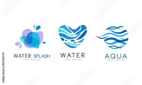 Water Splash Logo Design Set, Natural Aqua Blue Badges, Labels Vector Illustration