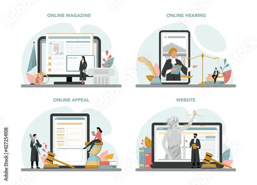 Fotografie, Obraz Judge online service or platform set