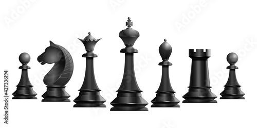 Fotografie, Tablou Set of black chess pieces
