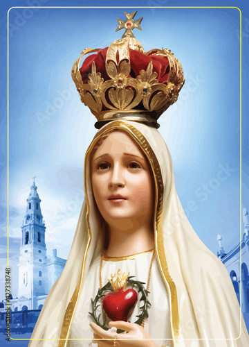 Obraz na plátně immaculate heart mary our lady fatima miracle illustration