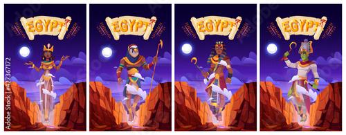 Fotografia Cartoon posters with Egyptian gods Amun Ra, Horus, Pharaoh and queen Cleopatra