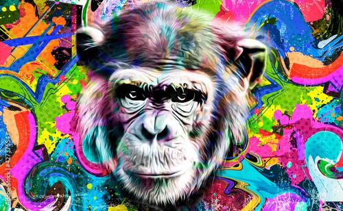 Fotografiet portrait of a Chimpanzee color art