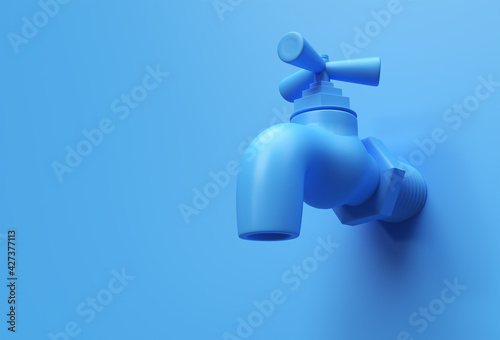 Fototapeta 3D Render Water Tap with a water stream isolated on Blue Background 3d illustration