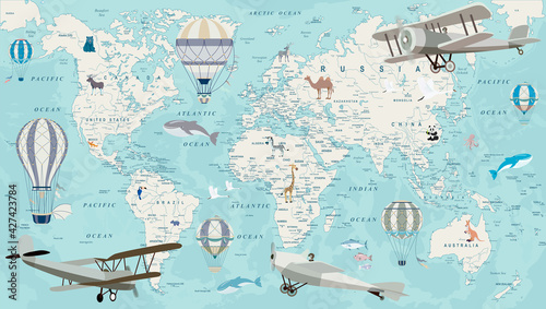 Canvas-taulu Old geography travel map with regional animals and aircrafts