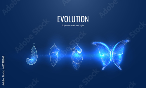 Fotografia, Obraz Evolution of a butterfly in a digital futuristic style