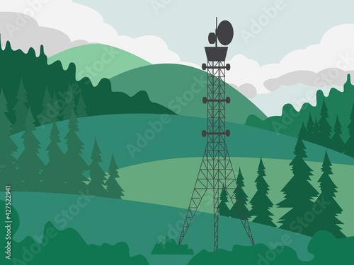 Foto Telecommunication antenna tower providing of wireless connection.