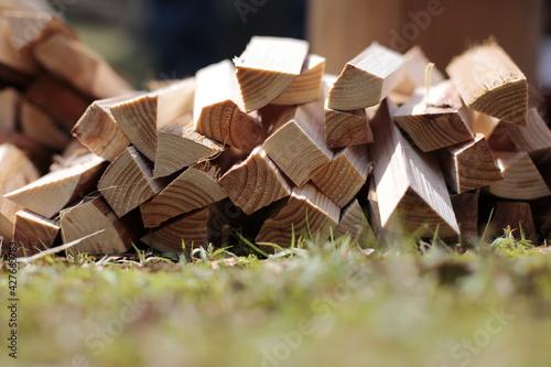 Obraz na płótnie Stack of firewood on the grass at the park