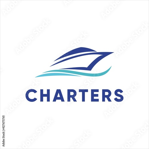Murais de parede yacht charter boat logo design vector