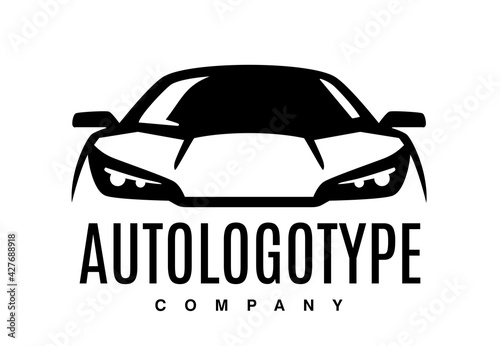 Auto car logo design front vehicle silhouette. Sign for your company