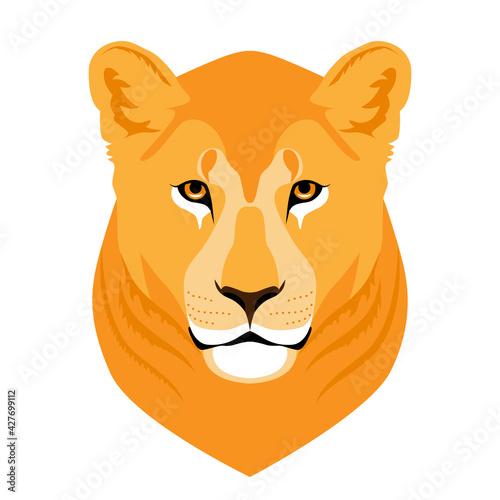 Stampa su Tela Wild Roaring lioness Head Mascot.