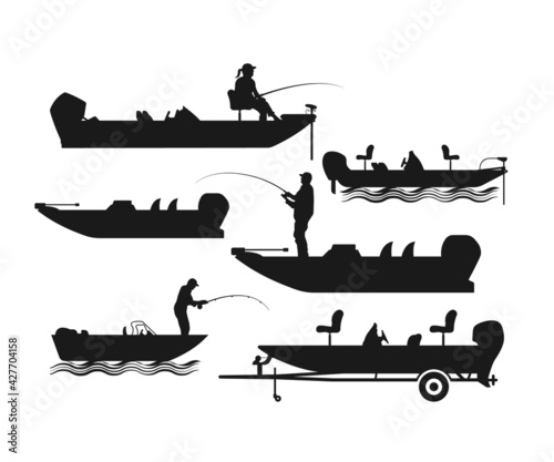 Fotografiet Bass Boat Svg File, Bass Fishing Svg, Gone Fishing, Fishing Boat svg, Fishing Ma