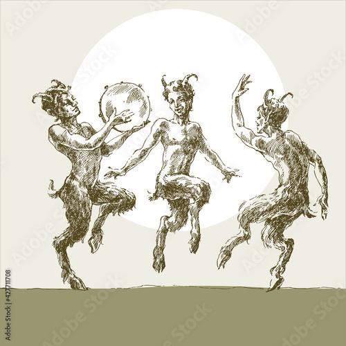 Obraz na plátně Three merry fauns dance, engrave.