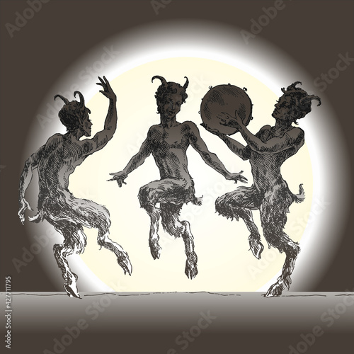 Photo Three silhouettes of dancing fauns, engraving.