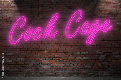 Canvastavla Neon Cock Cage lettering on Brick Wall at night
