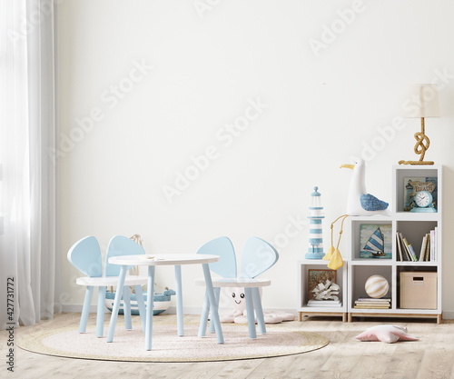 Bright children's room with kids table and shelves near window, kids furniture, kids room empty wall mock up, 3d rendering