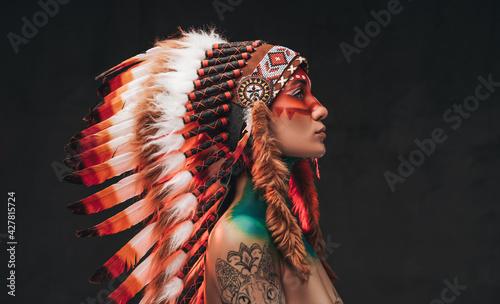 Fotografie, Obraz Tattooed trendy woman wearing national headwear from feathers