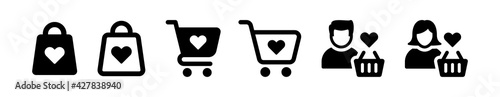 Foto Shopping cart or trolley with heart love shape icon