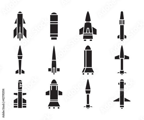 Fotografiet torpedo missile icons vector set