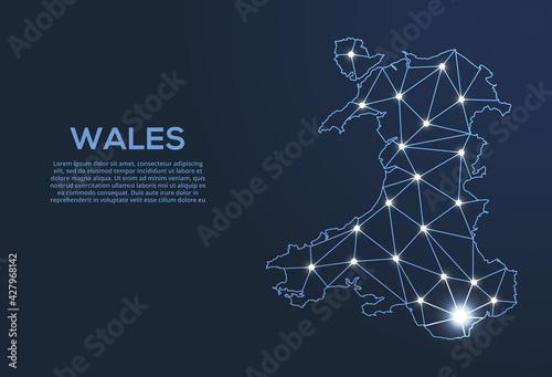 Fototapeta Wales communication network map