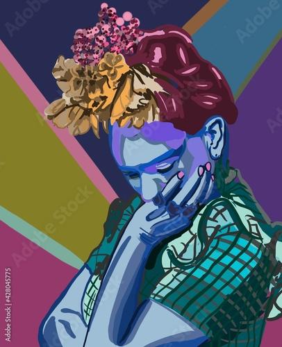 Tableau sur Toile Frida Kahlo a feminist Mexican women cubism conceptual painting, label, sticker