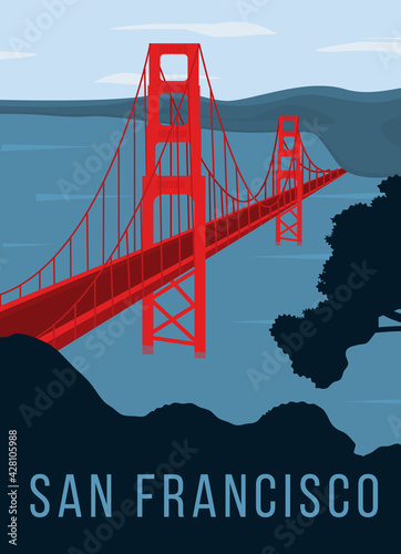 Photo Golden Gate bridge retro poster