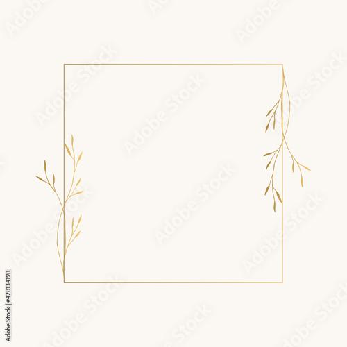 Golden botanical frame Tapéta, Fotótapéta