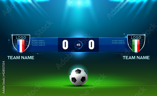 Valokuva soccer football stadium spotlight and scoreboard background with glitter light