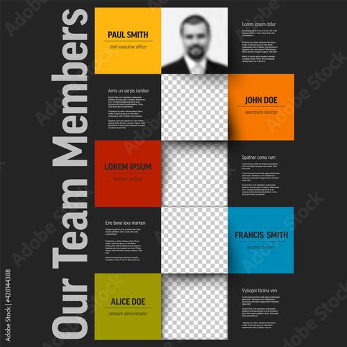 Dark Company team members presentation template Fototapet