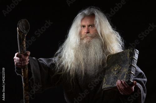 Fotografia, Obraz A wizard with a magical ancient book of spells